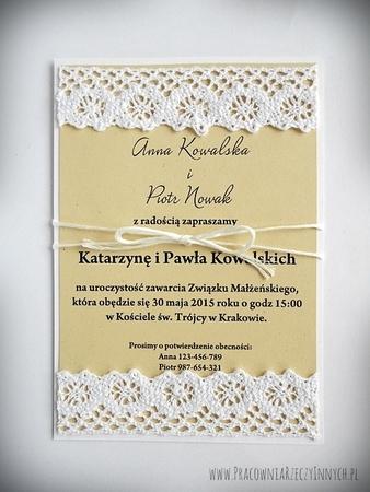 Zaproszenie retro z koronką (3)