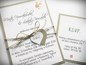 Zaproszenie ślubne w formie karty + RSVP