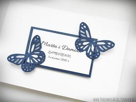 Proste zaproszenia ślubne z motylkami