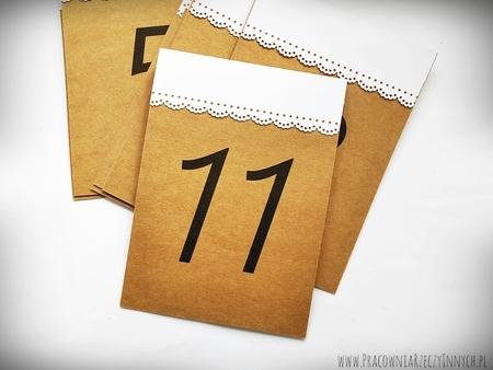 Rustykalne numery stołów z koronką (2)