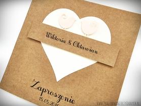 Zakochane ptaszki-zaproszenia z eko papieru