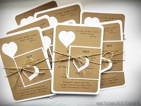 Rustykalne zaproszenie z sercem