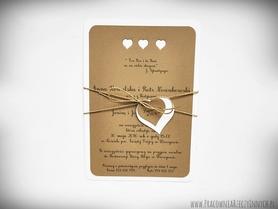 Rustykalne zaproszenia z sercami