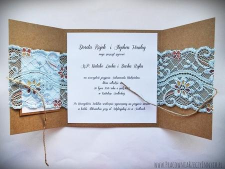 Romantyczne zaproszenia z eko papieru i koronki (4)