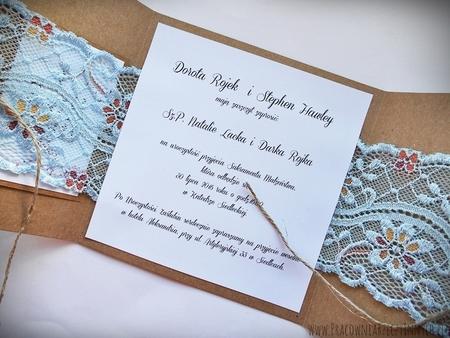 Romantyczne zaproszenia z eko papieru i koronki (10)