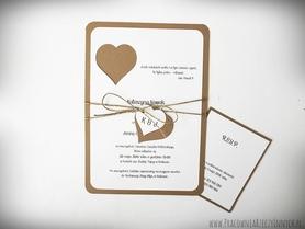 Rustykalne zaproszenia z sercem