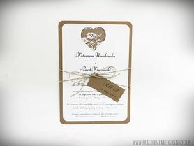 Rustykalne zaproszenie z koronką