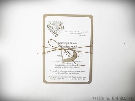 Rustykalne zaproszenie z koronką (2)