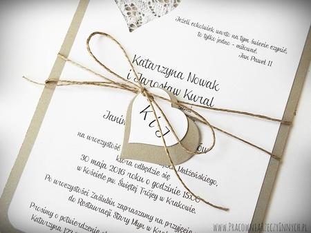 Rustykalne zaproszenie z koronką (3)