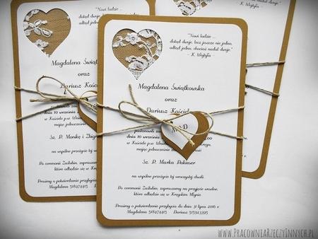 Rustykalne zaproszenie z koronką (5)