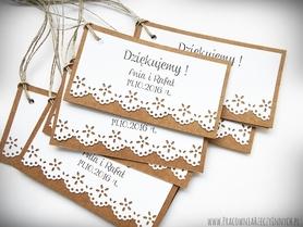 Rustykalne karteczki z podziękowaniami / koronka lub serduszko