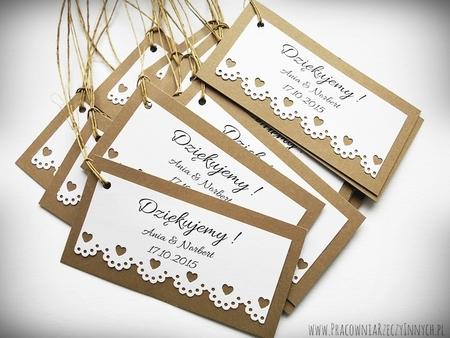 Rustykalne karteczki z podziękowaniami / koronka lub serduszko (3)