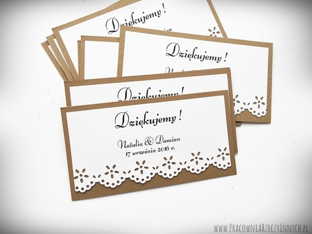Rustykalne karteczki z podziękowaniami / koronka lub serduszko (4)