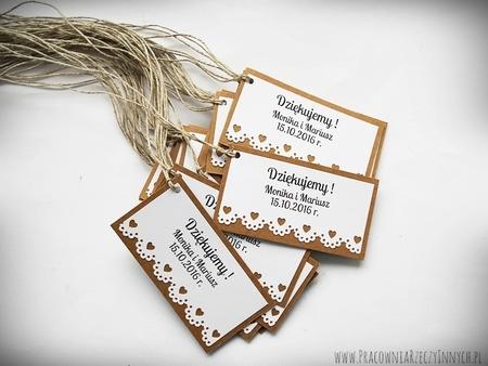 Rustykalne karteczki z podziękowaniami / koronka lub serduszko (6)