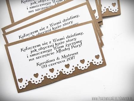 Rustykalne karteczki z podziękowaniami / koronka lub serduszko (7)