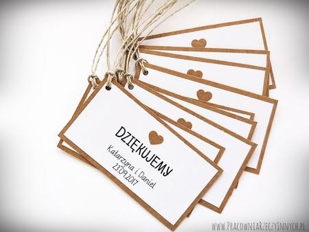 Rustykalne karteczki z podziękowaniami / koronka lub serduszko (2)