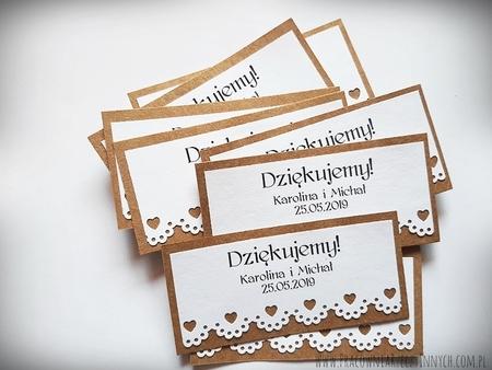 Rustykalne karteczki z podziękowaniami / koronka lub serduszko (9)
