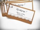 Rustykalne karteczki z podziękowaniami / koronka lub serduszko (8)