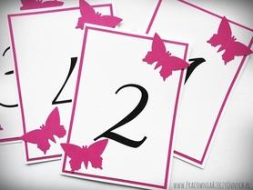 Dwukolorowe numery stołów z motylami /MOTYL II/