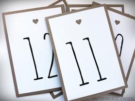 Numery stołów z serduszkiem / eko lub kolor