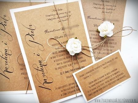 Romantyczne zaproszenia eko z kwiatem (2)