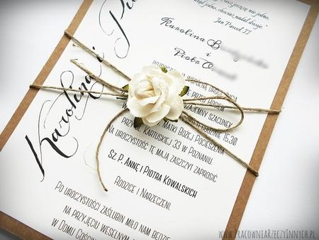 Romantyczne zaproszenia eko z kwiatem (7)