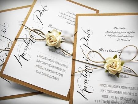 Romantyczne zaproszenia eko z kwiatem (4)
