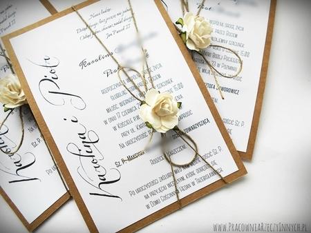 Romantyczne zaproszenia eko z kwiatem (9)