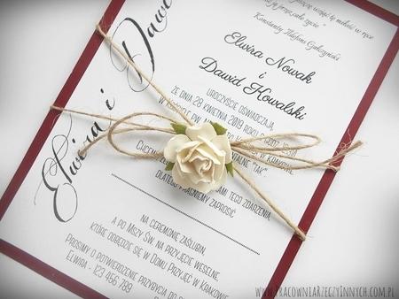 Romantyczne zaproszenia eko z kwiatem (10)