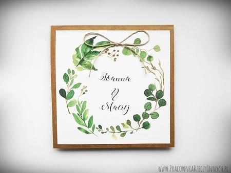 Rustykalne zaproszenia z motywem kwiatowym i kokardą. (1)