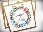 Rustykalne zaproszenia z motywem kwiatowym i kokardą. (6)