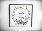 Rustykalne zaproszenia z motywem kwiatowym i kokardą. (12)