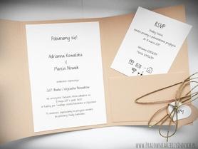 Zaproszenie z ekologicznego papieru z kieszonką i wkładką RSVP