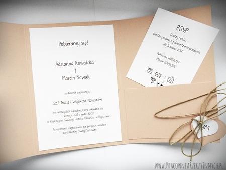 Zaproszenie z ekologicznego papieru z kieszonką i wkładką RSVP (1)