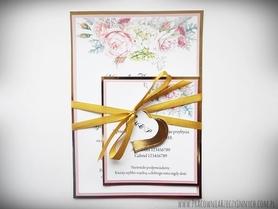 Zaproszenia z lustrzanym papierem i motywem kwiatowym
