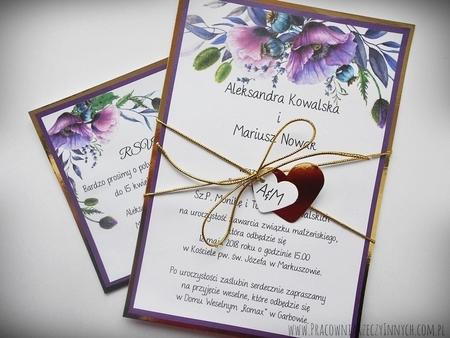 Zaproszenia z lustrzanym papierem i motywem kwiatowym (5)