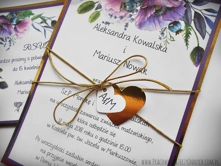 Zaproszenia z lustrzanym papierem i motywem kwiatowym (7)