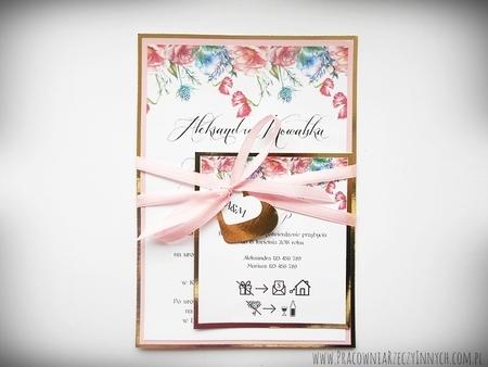 Zaproszenia z lustrzanym papierem i motywem kwiatowym (8)