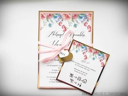 Zaproszenia z lustrzanym papierem i motywem kwiatowym (9)