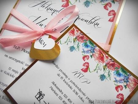 Zaproszenia z lustrzanym papierem i motywem kwiatowym (10)