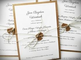 Rustykalne zaproszenie na chrzest w formie karty