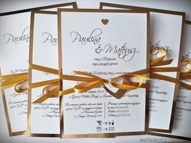 Zaproszenia na lustrzanym papierze z serduszkami