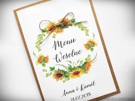 Menu weselne z motywem kwiatowym