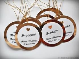 Okrągłe zawieszki złote/srebrne z kokardką lub serduszkiem