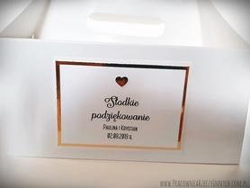 Złote/srebrne podziękowania na pudełko z ciastem