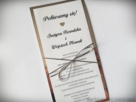 Lustrzane zaproszenia  glamour z serduszkiem (2)