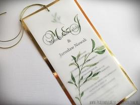 Eleganckie zaproszenie z kalką i złotym lub srebrnym papierem