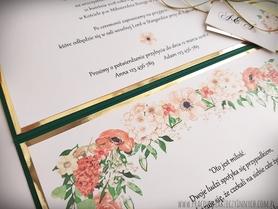 Kopertowe zaproszenia kwiatowe ze złotym/srebrnym akcentem