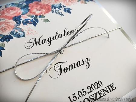 Złote lub srebrne zaproszenie z kwiatami (15)