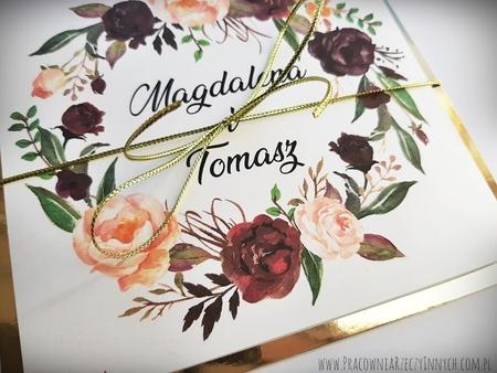 Złote lub srebrne zaproszenie z kwiatami (17)